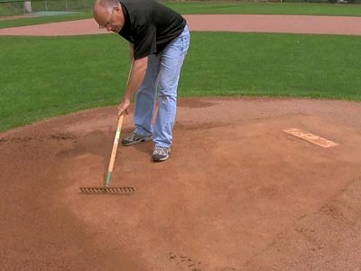 If there is rain or watering that leaves the mound or home plate areas moist when play begins, clay can actually be pushed up causing a ridge that will need to be cutdown.
