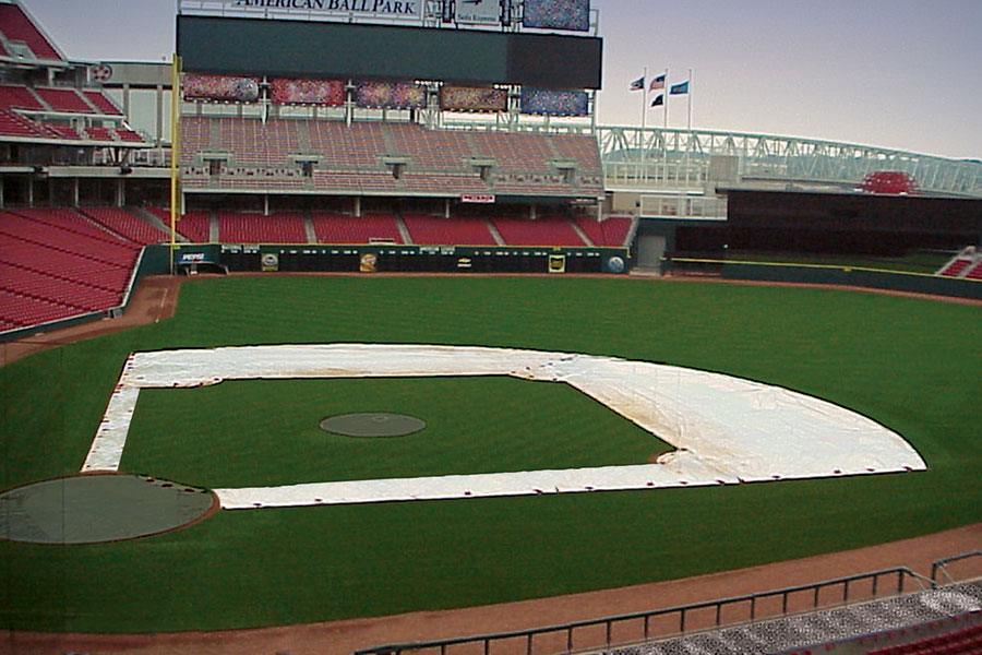 Infield Skin Tarps Shown With Optional Base Path