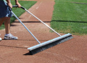 Get a broomed infield finish from the 7'W leveling blade on one side