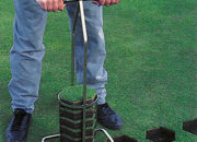 Cuts a 7″ x 3″ deep hexagonal plug in turf