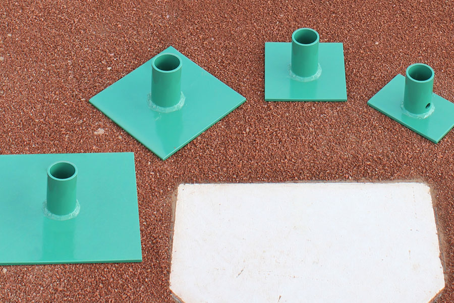 The four heads for the SweetSpot Tamp — 4×6, 6×6, 8×8, 10×10