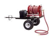 Reel holds 100′ of 1″ hose