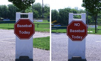 "Driveway Front-Back -- ""Baseball Today"" on one side ""No Baseball Today"" on the other"
