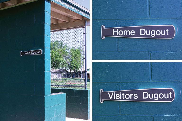 "Dugout set — ""Home Dugout"" and ""Away Dugout"""