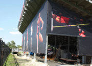 Bleacher Wrap with custom access panel to under bleacher storage area.
