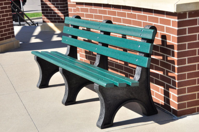Central Park Bench with resinwood slats with recycled plastic base.