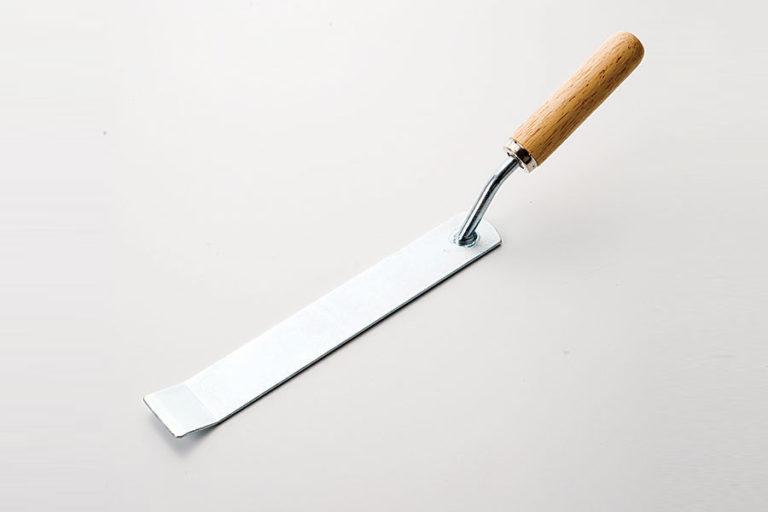 Steel blade with wooden handle