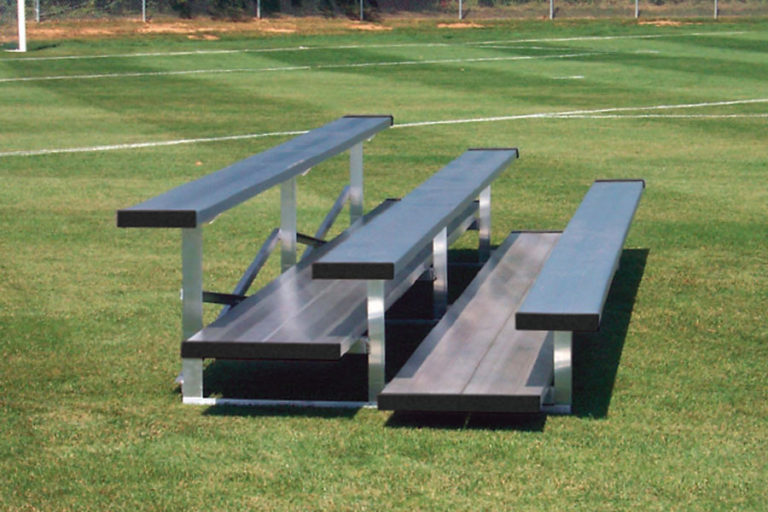 "Economy Bleachers, 3 rows with 20"" double foot plank"