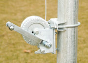 Winches mounted to the 3 poles on the tensioning end make setup easy