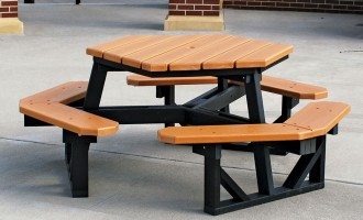 Six-sided 6 ft Picnic Table is made from resinwood.