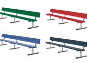 Premium Team Bench with backrests, painted aluminum available in 4 colors