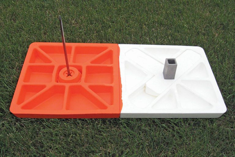 All-rubber double first base with spike to stabilize the orange side