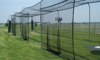 Soft Toss sock net hitting stations for batting cages