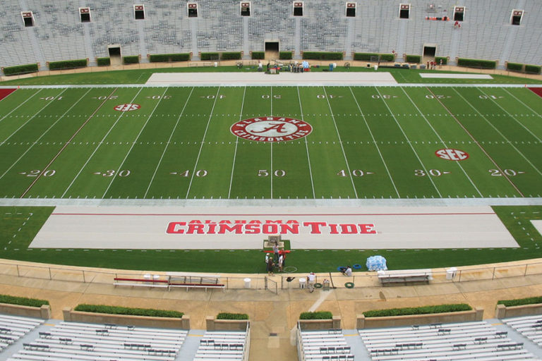 BenchZone Sideline Turf Protector at the University of Alabama