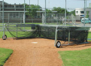 Folding Portable Backstop with the cage folded down