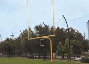 Yellow uprights on the Alumagoal Gooseneck Goalposts