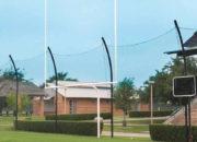 White uprights on the Alumagoal Gooseneck Goalposts