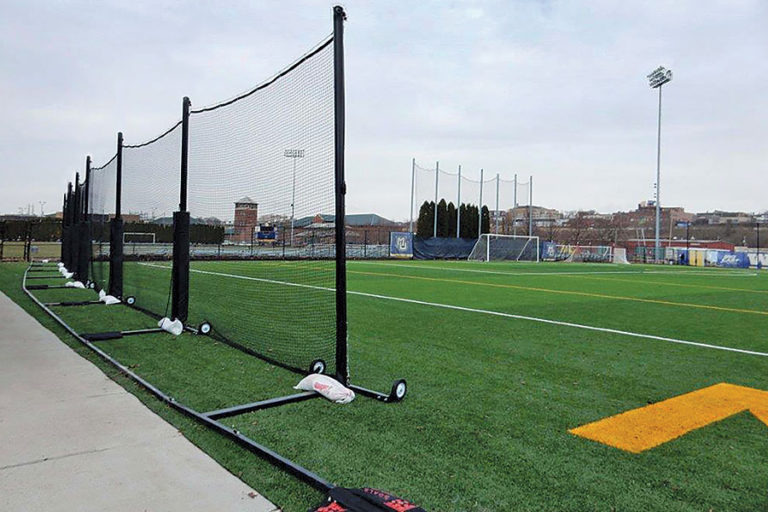 Portable Freestanding Backup Barrier Netting System