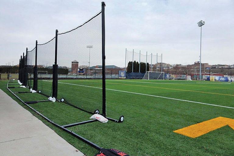 Portable Freestanding Backup Barrier Netting System